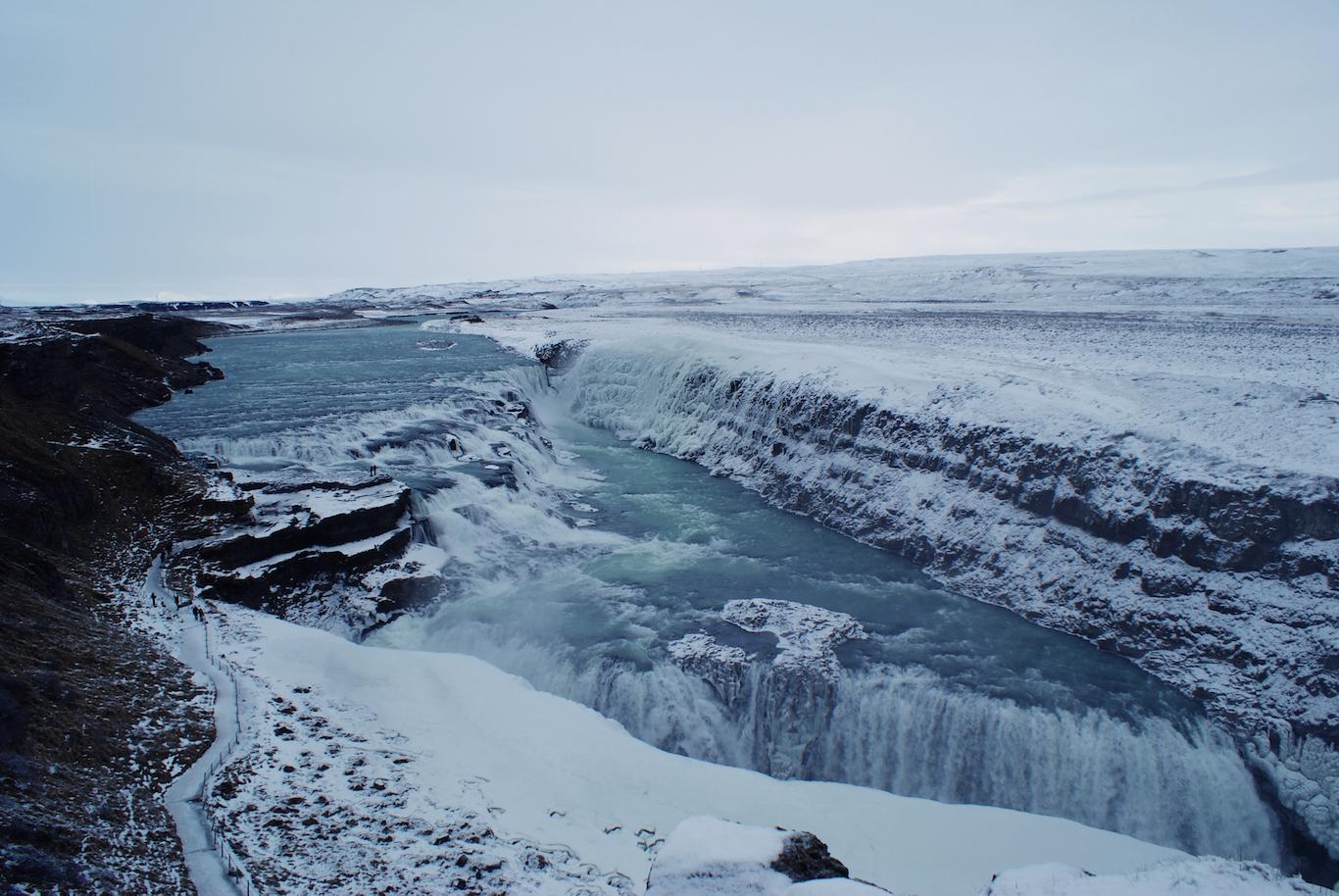 Gulfoss partially frozen - Iceland waterfalls