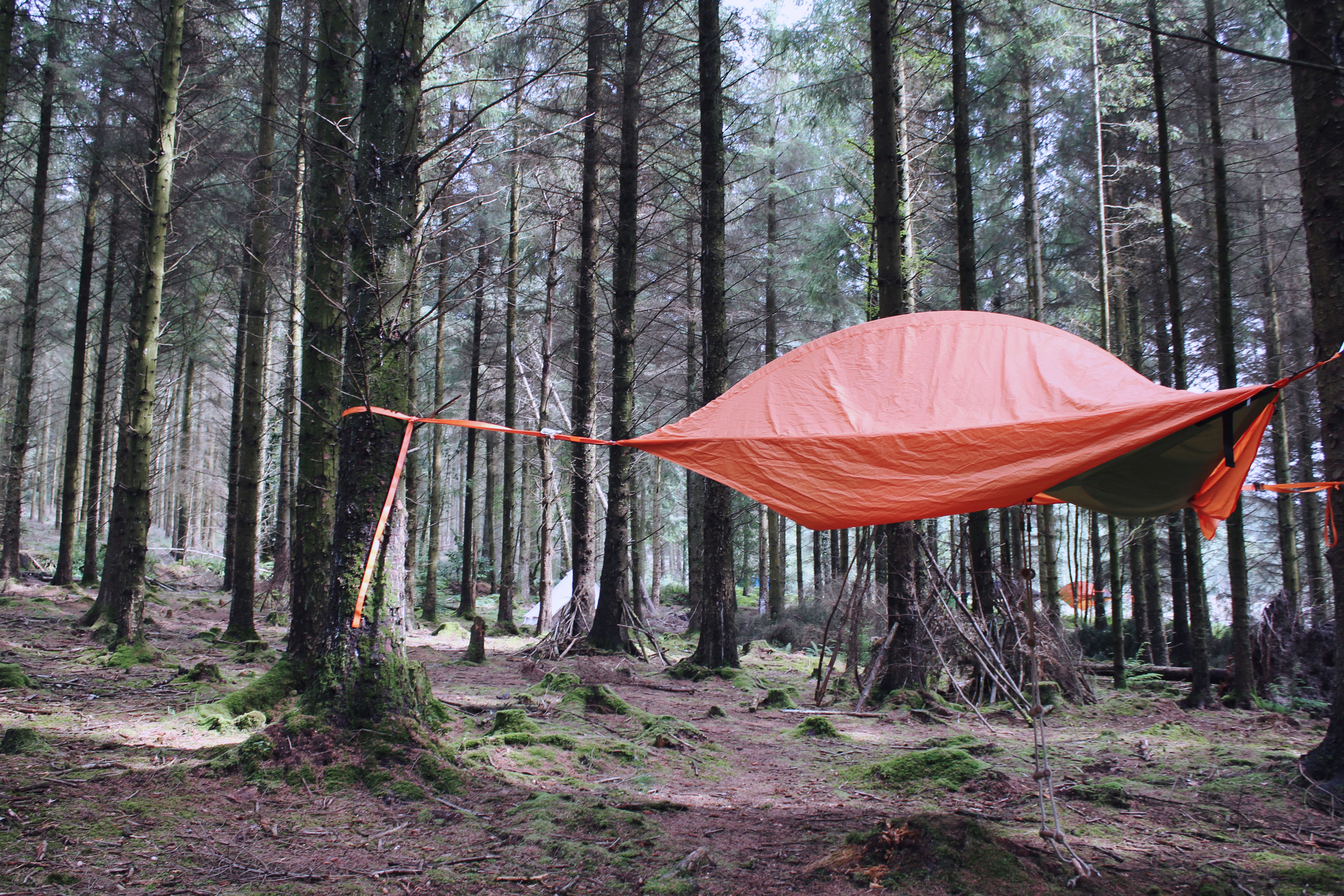Treetop Camping in suspended tents, Haldon Forest