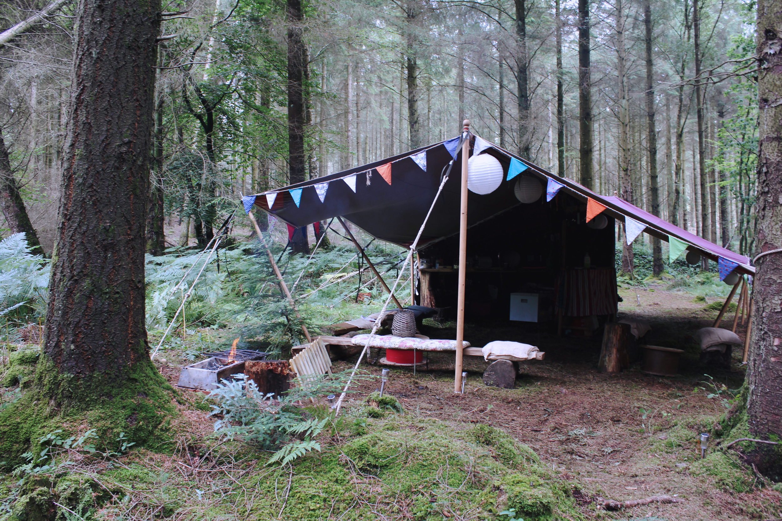 Cute woodland camping set up with bunting