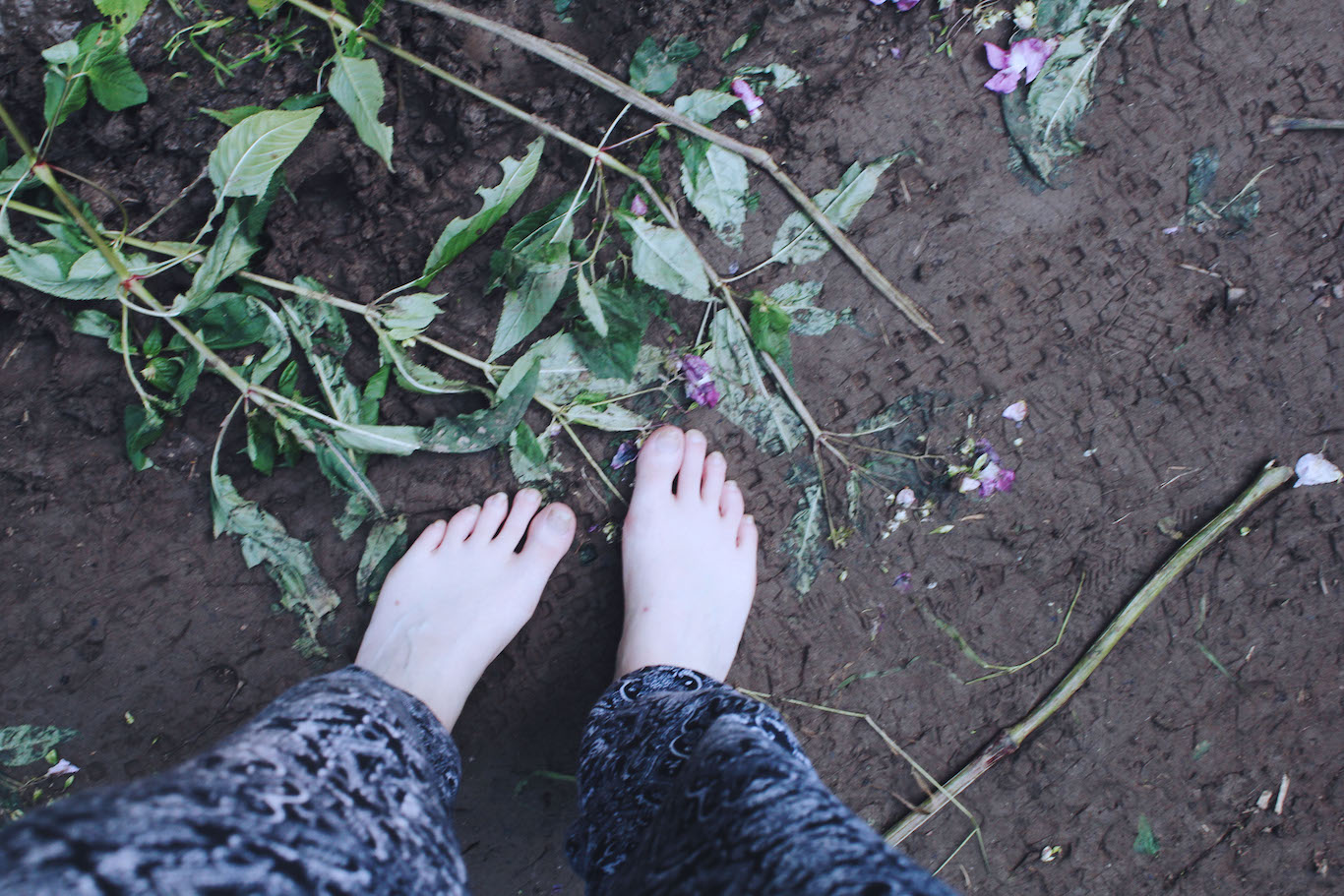 My feet and crushed flowers
