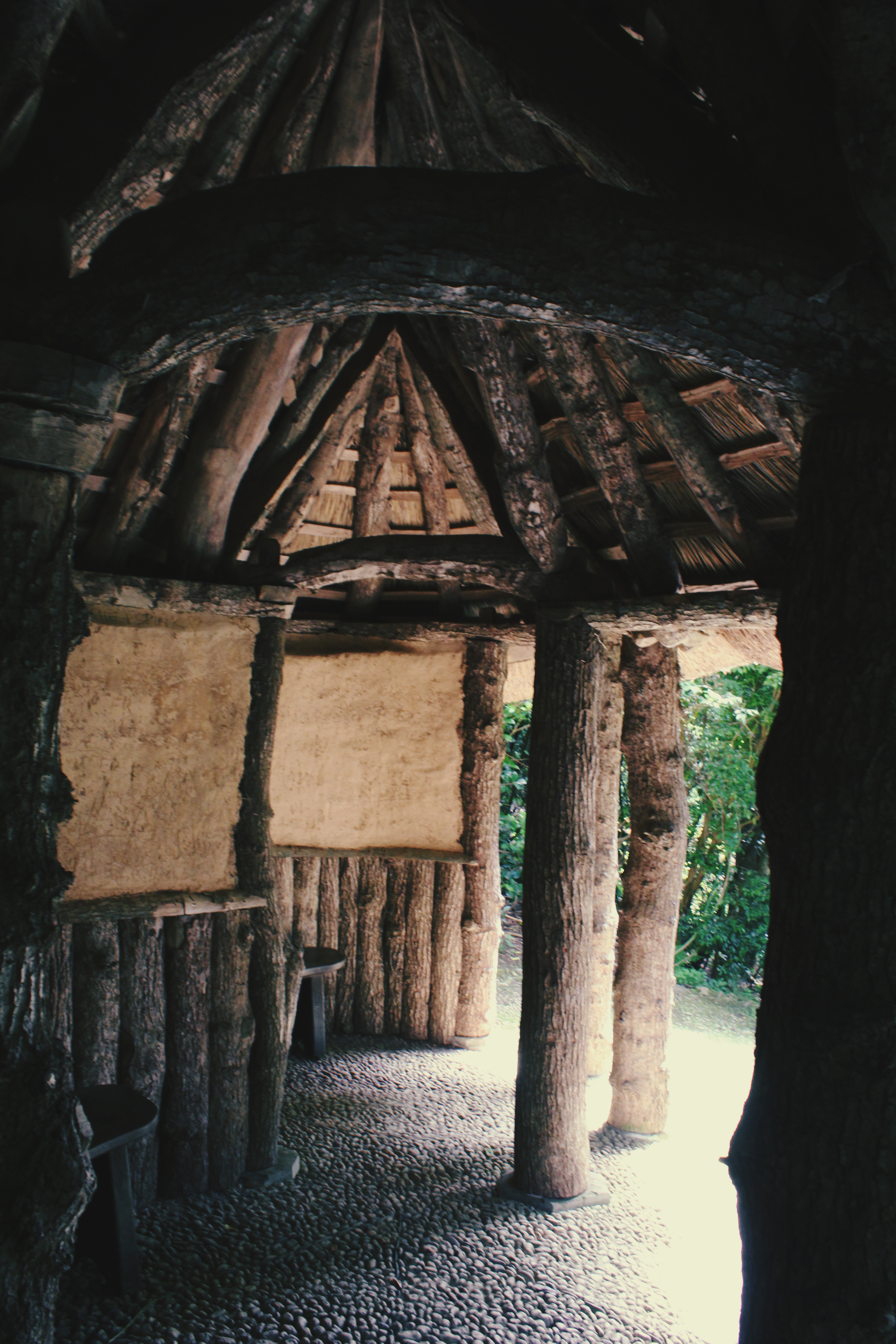 Inside wooden hut at Trebah Gardens, Cornwall