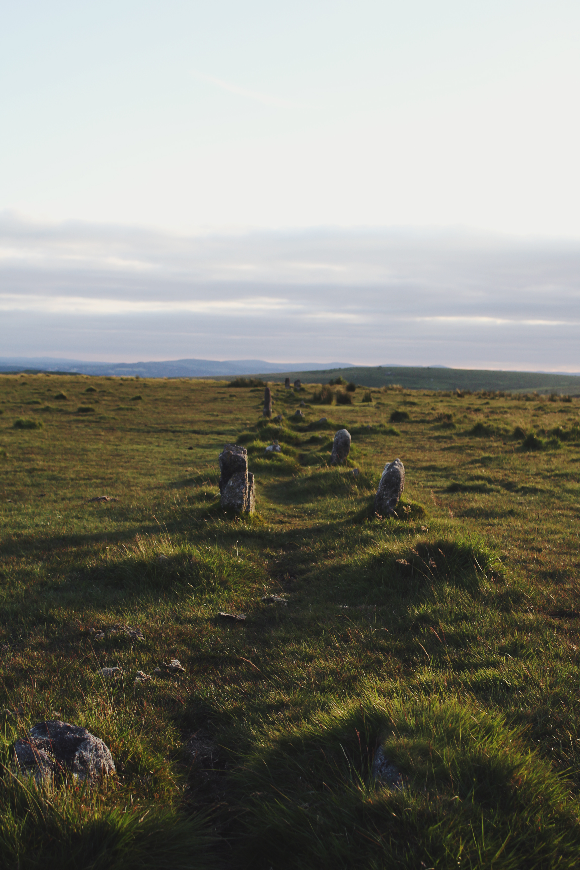 Sunset at Merrivale Stone Row, Dartmoor