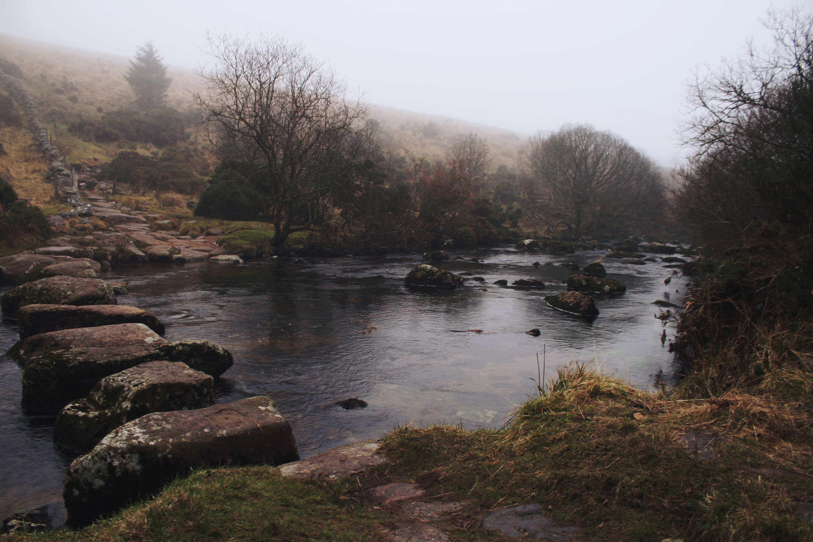 Stepping stones over the river on Dartmoor