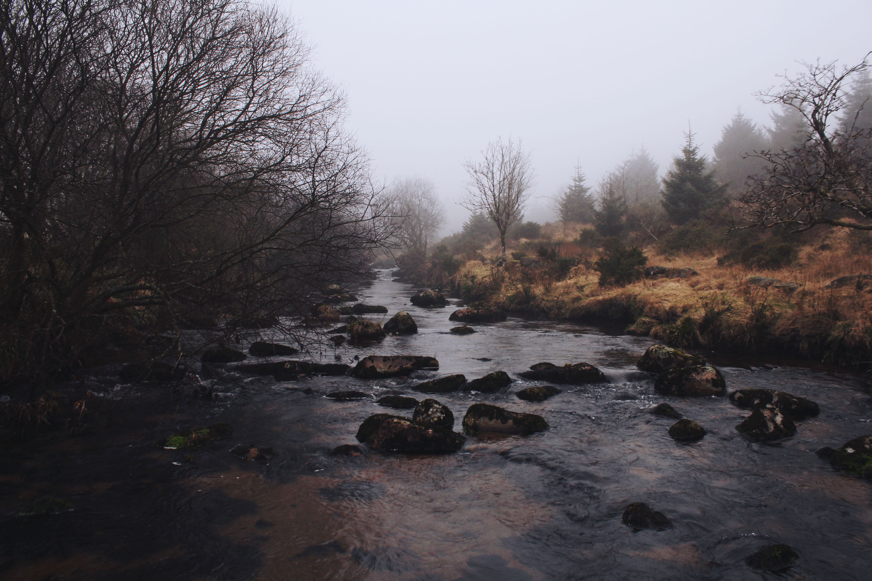 Misty rocky river near Bellever Forest, Dartmoor