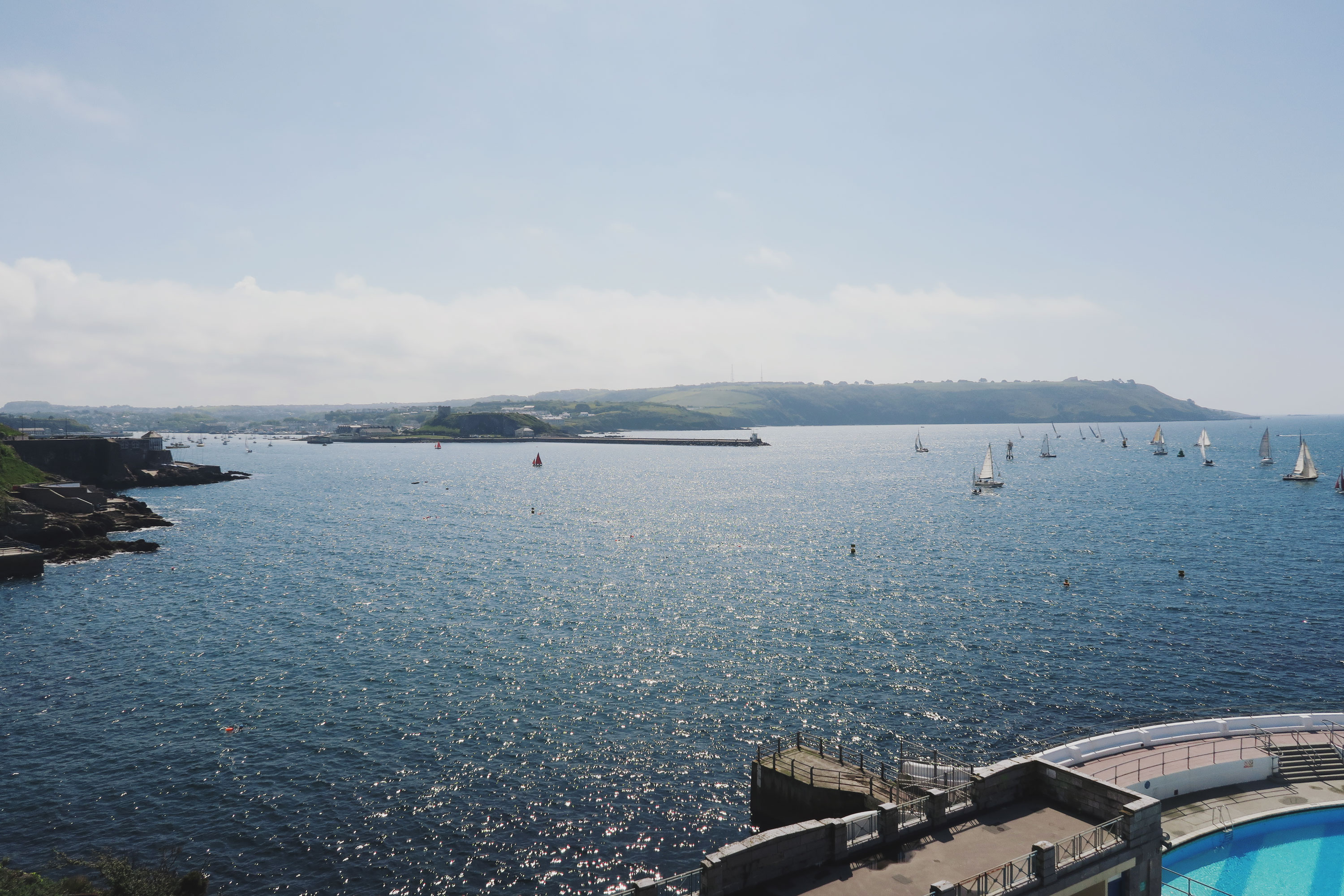 Sunshine and Sailing Boats from Plymouth Hoe